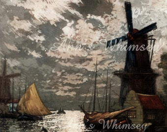 Sunset Glow Art,  Evening Print of Sunset Over a Dutch Seaport, Ocean Lovers Art  #150