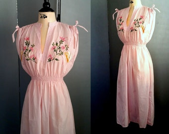 80s Pink Peasant Dress - Colorful Floral Embroidery - Gathered At Shoulders with Ties -  Elasticized Waist - Day Dress - SMALL