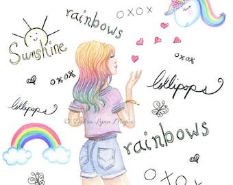 Sunshine, lollipops, rainbows and unicorns, Fashion sketch, Fashion wall art, girly sketch, Fashion print