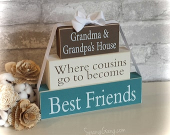 "Gift for Granny. Wood Block Stack: ""Granny's House...Cousins"" - Christmas gift for Grandma, Nana, Granny. Grandparents Day"