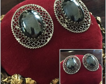 Vintage Whiting and Davis Hermatite Clip on Earrings