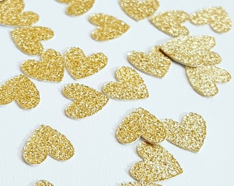 Gold Glitter Heart Confetti | Valentine's Day Confetti | Bridal Shower Decorations | Engagement Party Decorations | Wedding Decorations