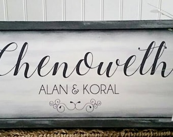 Family Name Sign Wood Home Sweet Home Last Name Blue White Distressed wood Large Typography Hand Lettering Cottage Beach Framed
