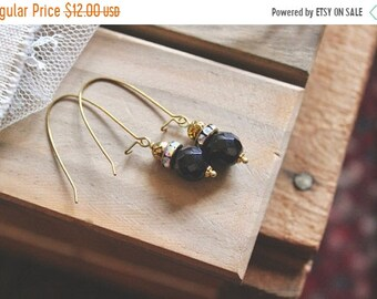 30% OFF SALE Antiqued golden tone rose bead, rhinestone, and glossy black bead drop earrings, kidney wire earrings