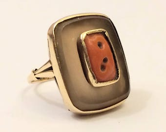 Vintage solid gold 14 carat ring with champagne Calcite and Blood coral - ca. 1960