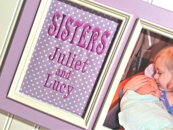 Sister GIFT Sisters Personalized 5x7 Picture Frame Lilac polka