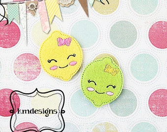 Sour Lemon / Lime with hairbow Feltie ITH Embroidery Digital Design file vertical and horizontal