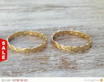 Sale - Gold ring, stacking gold ring, knuckle rings, thin gold ring, twisted ring, simple gold ring, gold knuckle rings -602