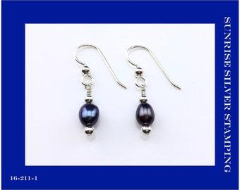 Black Freshwater Pearl and Sterling Silver Earrings, Simple Drop Pearl Earrings, Small Dangle Pearl Earrings, Raven's Wing Color Pearl