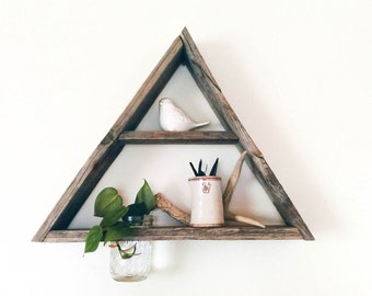Reclaimed Wood Triangle Shelf Mason Jar Planter / barnwood shelf, barnwood decor, reclaimed wood shelf, display shelf, geometric shelf