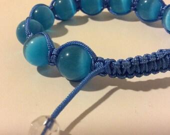 Bright blue agate adjustable beaded ball bracelet