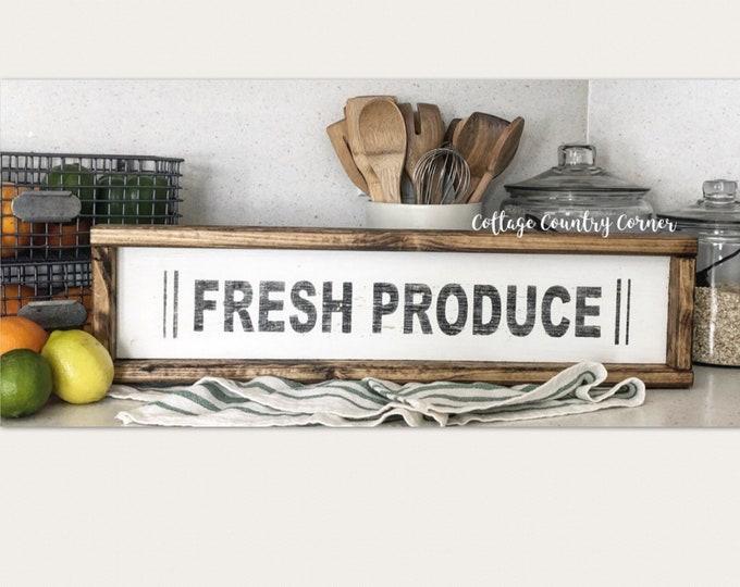Fresh Produce Sign - Wood Produce Sign - farmhouse decor - farmhouse kitchen - farmhouse kitchen decor - kitchen decor - home decor
