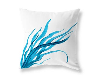 Blue Seaweed Cushion Cover, Cotton Twill, 40cm (16'') x 40cm (16''), Front And Back Design, Concealed Zip, Nautical, Beach
