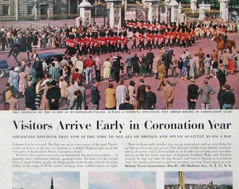 1953 Changing of the Guard Buckingham Palace - 1950s British Travel Ad - Coronation Year