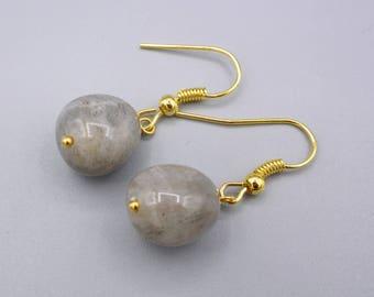 Labradorite Earrings,  Labradorite Nuggets,  gold plated, 925 Silver, minimalist, simply earrings