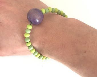Handmade bracelet made with various wooden beads