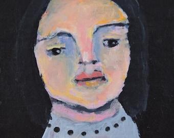 Acrylic Woman Portrait Miniature Art Painting. 4x4 Original Artwork. Living Room Wall Decor. Stocking Stuffer