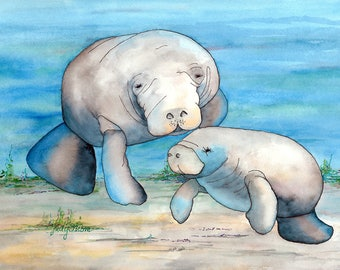 "Manatee Mother and Baby Swimming in Water.  5""X7"" Matted Digital Print"