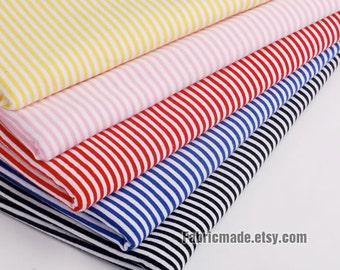 2mm Pin Stripes Fabric White Red Royal Blue Pink Yellow Black Stripe Baby Jersey Knit Cotton Fabric- 1/2 Yard