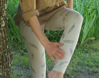 Legging feather sand and grey