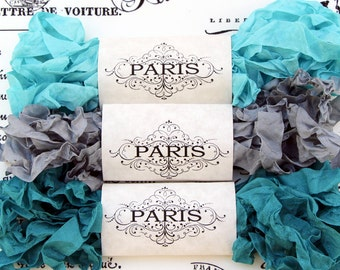 Seam Binding,Scrunched, Shabby Crinkled Ribbon, Turquoise,Silver,Rayon Ribbon, Doll Making,Crazy Quilting, Junk Journals, Creme de Menthe