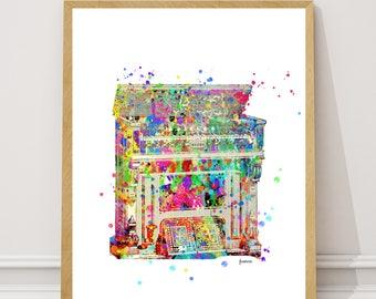 Vintage Piano Print, Piano Watercolor Art Print, Piano Wall Decor Home Decor  Instant Download, vintage piano piano poster, Piano