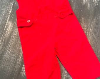 Vintage Kids Dorlee 9M Red Corduroy Overalls Romper Very 70s 80s