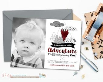 Great Adventure Invitation, Mountain Invitation, Adventure Invitation, Adventure Birthday Invitation, Buffalo Plaid Invitation, Birthday