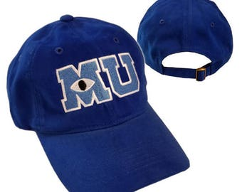 Monsters University MU Hat Mike Halloween costume embroidered logo Royal blue cap