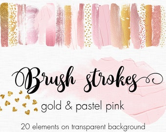 Pastel pink and Gold brush strokes clipart, Gold paint clipart, Pastel paint clip art, Design elements, Metallic clipart, Paint splatters