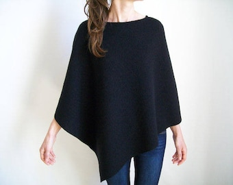 WOOL PONCHO / Winter Ponchos for Women / Wool Cape / Clothing Gift / Asymmetrical Tunic / Black Poncho / Pure Wool Shawl / Virgin Wool Wrap
