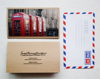 Telephone Booth Greeting Card - England Travel Photography, Brown Card with Air Mail Envelope, Cambridge England Card, Blank Greeting Card