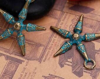 Zinc Based Alloy Boho Chic Patina Charms Pentagram Star Antique Bronze Pattern - Pack Of 2