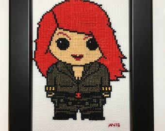 Marvel Handmade Cross Stitch Black Widow (Natasha Romanoff) - Framed