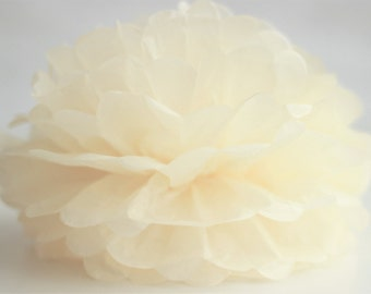 1 High Quality IVORY Tissue Pom Pom - Choose any of 50 colours - Hanging  Paper flower - Tissue paper balls - Tissue paper pom poms