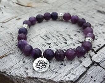 Lepidolite Bracelet Calming Bracelet Meditation Bracelet Healing Bracelet Stone Bracelet Chakra Bracelet Anti Anxiety Lepidolite Stone