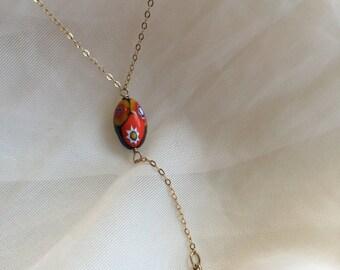Italian Venetian Murano Painted  Bead Lariat, Y Necklace, Elegant Lariat, Perfect Gift, Friendship Jewelry