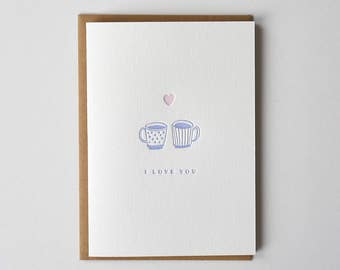 Love Mug Letterpress Greeting Card