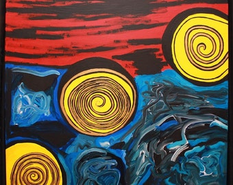 Sea of Chaos Large Original Modern Abstract Painting by Angel Reign