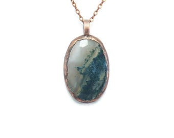 Moss Agate Necklace Jewelry | Raw Electroformed Copper | Pendant | Natural Crystal