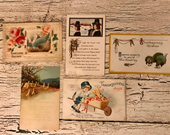 5 Vintage Thanksgiving Postcards - 1900-1915 - Beautiful for Place Cards, Mixed Media and Crafts