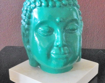 Dark Jade Colored Buddha Head HALF OFF!