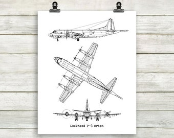 Lockheed blueprint etsy lockeed p 3 orion blueprint aircraft blueprint p3 orion wall art printable malvernweather Gallery