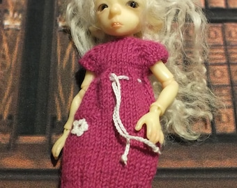 BJTales Lidia Snul Mouse BJD doll knitted dress jacket set magenta