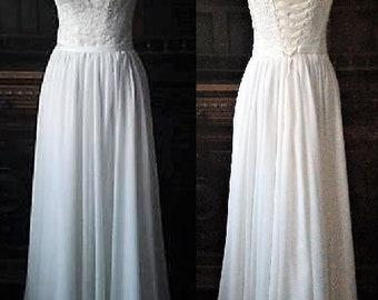 Beach wedding dress,Boho Vintage,Inspired,A-Line, Wedding Dress,Illusion Neckline,Cap Sleeves,Lace Corset, Open Back,Prom dress,