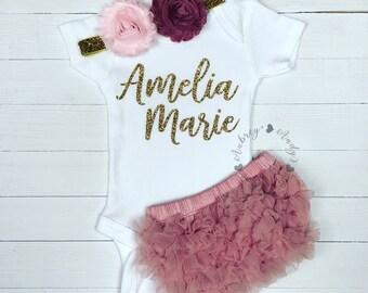 Custom Baby Girl Onesie | Baby Girl Coming Home Outfit | Personalized Baby Girl Onesie | Newborn Baby Onesie | Baby Girl Take Home Outfit
