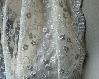 SALE Ivory Cream Lace Embroidered for Bridal, Shrugs, Shawls, or Costume Design
