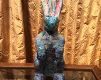 Handmade Paper Mache Collage Bunny