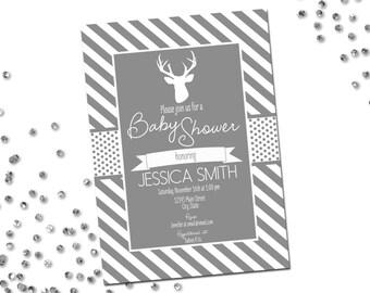 Deer Baby Shower Invitation - Deer Baby Shower - Grey and White Stripes - Printable