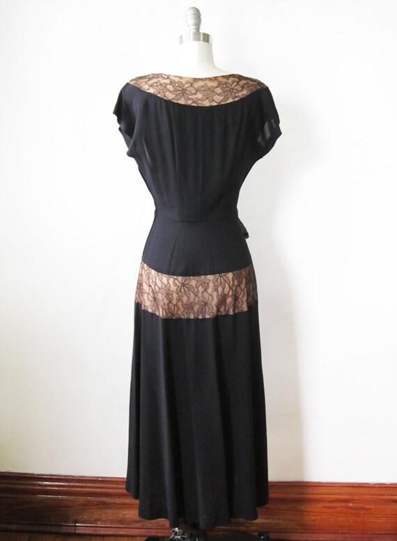 black 1940s 40s small dress vintage dress 1940s dress cocktail W5Zq4BAEnx